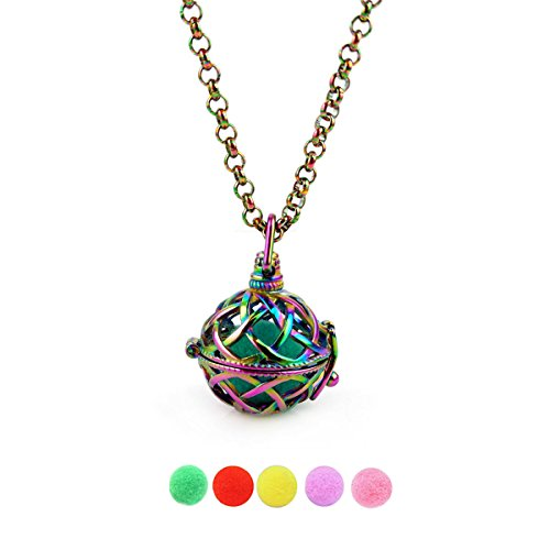 Rainbow Niobium Pearl Cage Necklace Ball Pendant Cages for Charm Beads Stones Holder Stainless Steel Jewelry