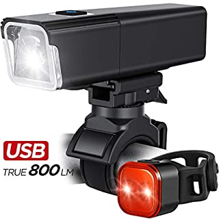 iKirkLiten 2020 Upgraded 800 Lumens Bike Light USB Rechargeable, LED Bicycle Headlight Front and Back Rear Tail Lights, IPX6 Waterproof, Easy to Install for Men Women Kids Cycling Safety Flashlight