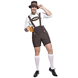EraSpooky Men's Oktoberfest Costume Lederhosen German Bavarian Guy Set Halloween