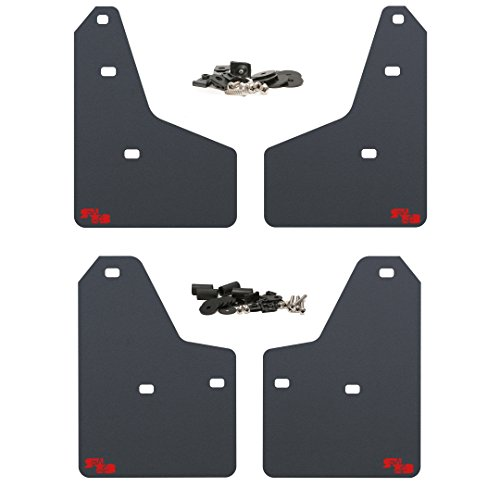 (RokBlokz Mud Flaps for 2012+ Ford Focus - Multiple Colors Available - Set of 4 - Fits All MK3 Models - Includes All Hardware and Detailed Instructions (Black with Red Logo, Shortz))