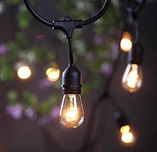 Outdoor String Lights Mains: SHINE HAI 48Ft 24 Hanging Sockets Outdoor Patio Lights