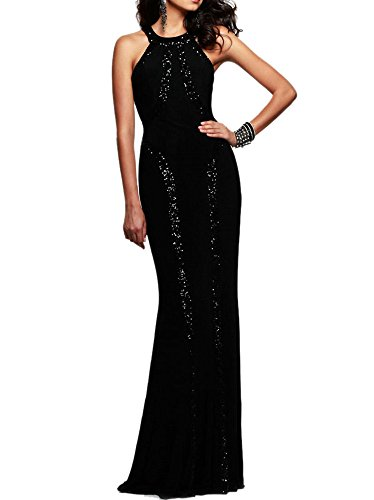 Women's Gorgeous Jersey Sequin Trim Evening Dress Long Gown (Black, Medium)