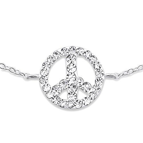 Atik Jewelry Silver Inline Peace Sign Bracelet - Crystal