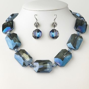 Hematite Blue Chunky Faceted Glass Crystal Necklace 9509 & Earrings 9529 Jewelry Set