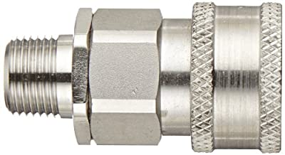 """Snap-Tite SVHC6-6M Stainless Steel 316 H-Shape Quick-Disconnect Hose Coupling, Sleeve-Lock Socket, 3/8"""" NPTF Male x 3/8"""" Coupling Size"""