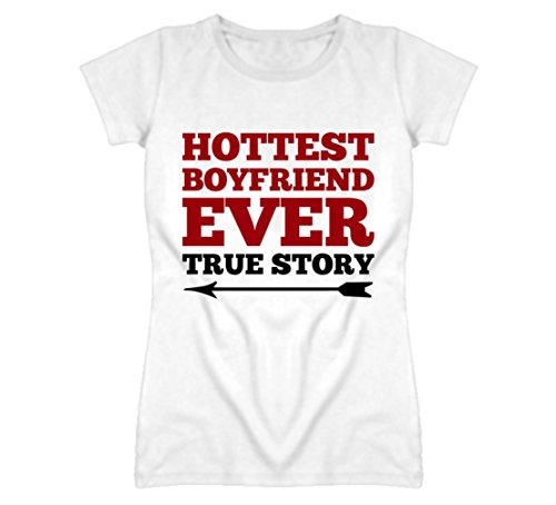 South Beach Girls' Hottest Boyfriend Ever Valentines Couples T-Shirt MD White by South Beach T Shirts