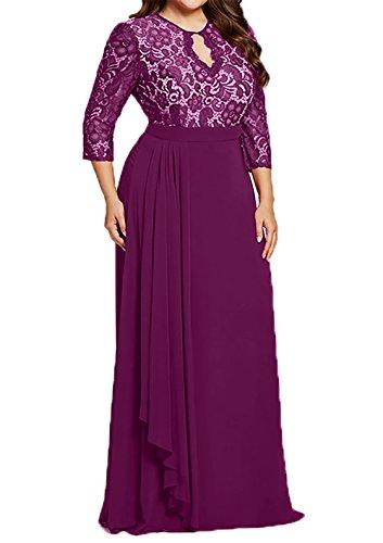 Festlich Abendkleider Uebergroesse Brautmutterkleider Braut Fuchsia mia Ballkleider Promkleider Langarm La Dunkel Lang CFtqax