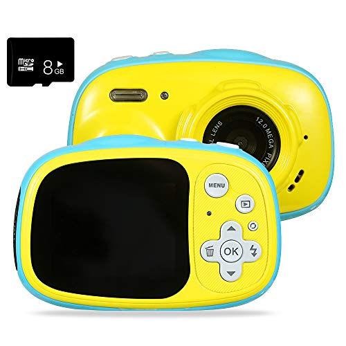 Kids Camera 5MP HD Waterproof Camera Mini Gift Digital Camera for Kids Support MP3/MP4 with 2.0 Inch IPS HD Screen Puzzle Game USB Rechargeable Outdoor for Boy Girls Gift Camera