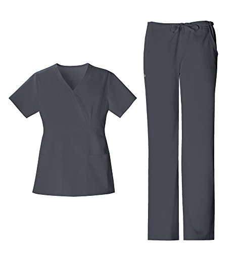 Cherokee Luxe Women's Mock Wrap Top 1841 & Women's Elastic Waist Drawstring Pant 1066 Scrub Set (Pewter - Medium/Medium)