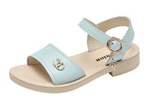 Girls Sandals Leather Pricness Blue Women Shoes Bigood Summer Causal Flat Faux x5ECwq