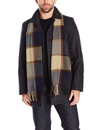 Tommy Hilfiger Men's Wool Melton Walking Coat with Attached Scarf, Charcoal, L - Quilted Car Coat