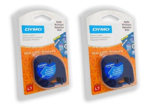 DYMO 91335Letratag cinta autoadhesiva de etiquetas multiuso, 1/2-inch, ultra-Blue, 13-foot Cassette, 2paquetes