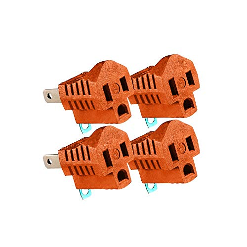 Maximm Polarized Grounding Adapter (4-Pack) Orange, 2 Prong Grounding Converter for Wall Outlets Plugs, Turn 2-Prong Outlets to 3-Prong Outlets, Easy to Install, Indoor Only, ETL Listed