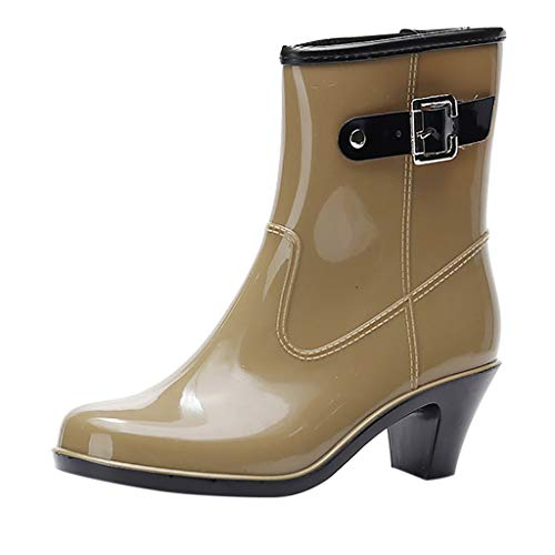 (ONLY TOP Women's Mid Calf Rain Boots Buckle Side Zipper Wedge High Heel Waterproof Shoes Snow Wellies Bootie)