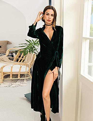 Camiseta otoño V Jizhi Profunda Vestido Corte En Maxi verano Ancho Festivos Escote Alta Mujer xl green Cintura ggFq6xRI