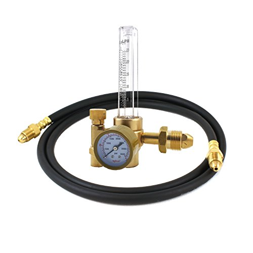 Argon CO2 - TIG MIG Flow Meter - Welding Regulator - Welder Gauge with 5 Feet Argon Hose - CGA580 - MD