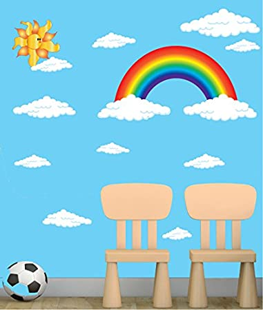 Rainbow wall decals stickers with sun and clouds wall decals rainbow wall decor