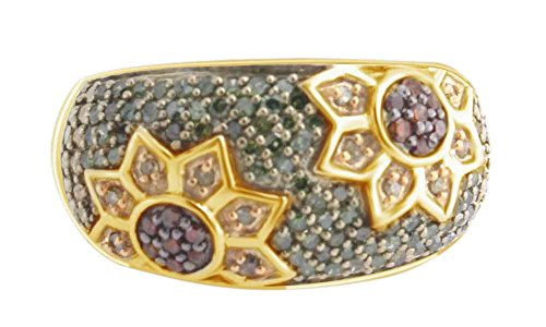 AFFY Simulated Multi Gemstone Flower Band Ring in14k Yellow Gold Over Sterling Silver ()