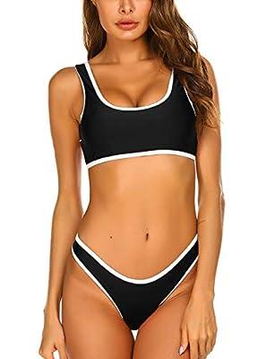 ADOME Women Two Piece Swimsuit Push Up Bikini Set Sport Style Bathing Suit High Cut Bottom