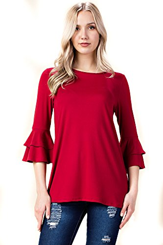 Betsy Red Couture Womens Ruffled 3/4 Sleeve Tunic (S-3X)