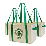 Heavy Duty Collapsible and Reusable Shopping Box Bags with Fold Out Reinforced Bottom (Set of 3)