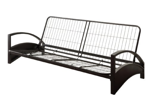 DHP Alessa Futon with Modern Metal Frame, Multifunctional Converts from Sofa to Bed, Full, Black
