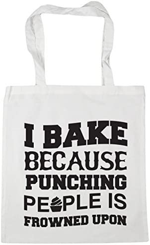 I bake because punching people is frowned upon Tote Shopping /& Gym /& Beach Bag 42cm X 38cm with Handles By Valentine Herty