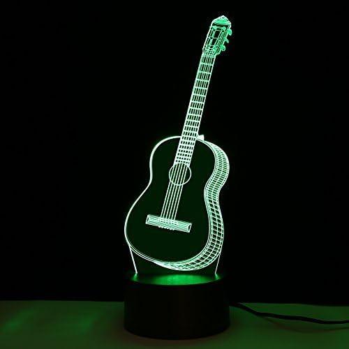 Yosoo 3D LED Luz de Noche Lámpara de Mesa Guitarra Forma Creativa ...