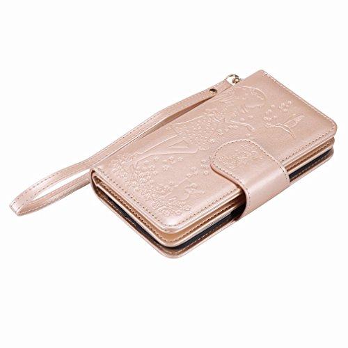 Yiizy LG K10 K420N K430 Funda, Chica Repujado Diseño Solapa Flip Billetera Carcasa Tapa Estuches Premium PU Cuero Cover Cáscara Bumper Protector Slim Piel Shell Case Stand Ranura para Tarjetas Estilo
