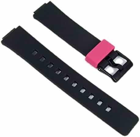 Casio watch strap watchband Resin Band black/Pink LDF-52-1AEF LDF-52