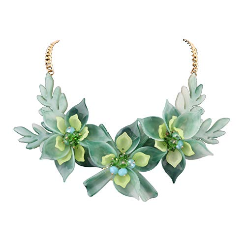Niumike Lily Flower Statement Necklaces for Women,Youthful Green Chunky Necklace Set Box