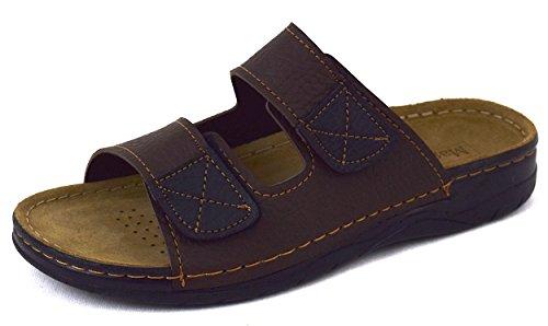 Herren Pantoletten Sandaletten, Soft-Fußbett und Leder-Innensohle, mit 2-Fach Klettverschluss, sehr gut geeignet als Haus-oder Freizeitschuhe, Braun, Gr.40-46