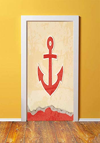 Anchor 3D Door Sticker Wall Decals Mural Wallpaper,Anchor Chain Illustration Marine Life Navy Item Mooring Vessel Hook into the Seabed,DIY Art Home Decor Poster Decoration 30.3x78.13497,Red Cream