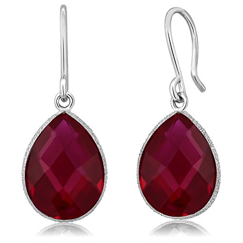 Gem Stone King Sterling Silver Created Red Ruby Dangle Earring 12.00 cttw Pear Shape 16X12MM