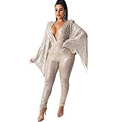 V-Neck Flared Long Sleeve Romper In Silver Sequins