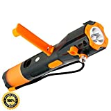 Cynergy Lifelight Waterproof Rechargeable Crank Flashlight with Window Breaker, Seatbelt Cutter, Compass, USB Cell Phone Charger, and Red Light Flasher