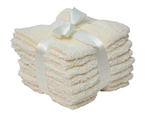 J&M Home Fashions Premium 8-Piece Cotton Washcloth Set, 12x12, Hotel & Spa Quality, Super Soft and Ultra Absorbent Face Towels for Bathroom & Washroom-Cream