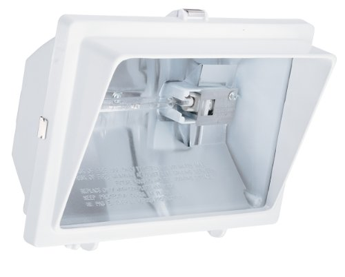 Lithonia Lighting OFL 300/500Q 120 LP WH M6 Light Visor Flood Light with One 300-Watt and One 500-Watt Quartz Halogen Double-Ended Lamps, White For Sale