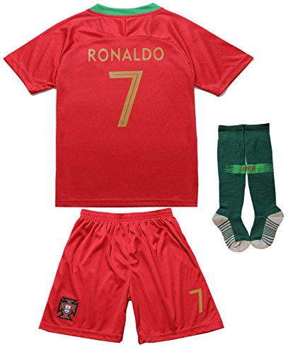 FPF 2018 Portugal Cristiano Ronaldo #7 Home Football Soccer Kids Jersey Short Socks Set Youth Sizes (Short (New 2018), 6-7 Years Old)