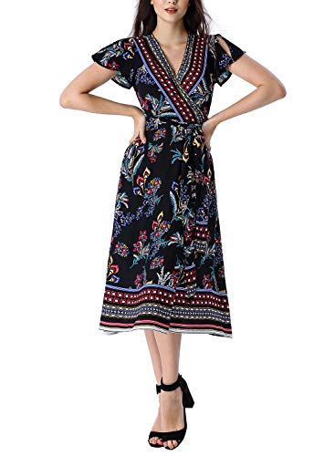 VFSHOW Womens Summer Boho Black Floral Ruffle Sleeve V Neck Pockets Split Casual Beach Party Wrap Midi Dress G3017 BLK XS