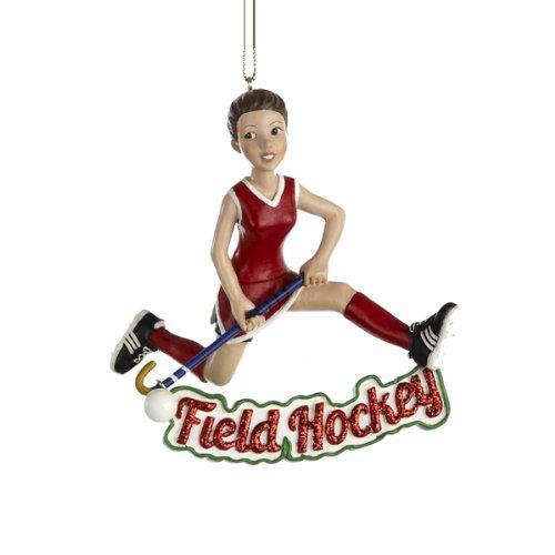 """Kurt Adler Resin Girl """"field Hockey"""" Ornament"""