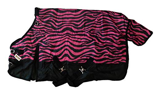 AJ Tack Wholesale Pony Horse Blanket Rip Stop 600D Water Proof 300G Medium Weight Pink Zebra Print 58