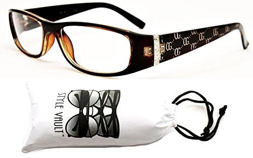 E425-vp Rectangular Clear Lens Eyeglasses Sunglasses (951 Brown/Silver, - 951 Sunglasses