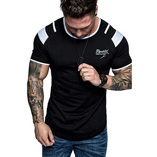MILIMIEYIK Mens Summer Casual Short Sleeve Henleys T-Shirt Single Button Placket Plain v Neck Shirts Black ()