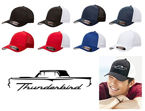 Maddmax Car Art 1958-1960 Ford Thunderbird Hardtop Classic Outline Design Flexfit Trucker Trucker Hat Cap Black ()
