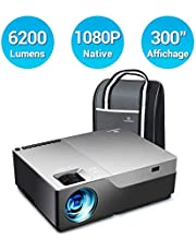 Vidéoprojecteur, Vankyo 6200 Lumens Rétroprojecteur Full HD 1920x1080P Native Video Projecteur Portable Supporte Dolby Stereo SoundBar, avec HDMI VGA AV USB pour Présentation PPT Home Cinéma