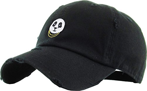 KBSV-056 BLK Panda Vintage Distressed Dad Hat Baseball Cap Polo Style -