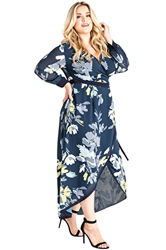 Plus Size Standards & Practices Navy Floral Print Tulip High Low Chiffon Wrap Dress Size 1X (Dress Tulip Petal)