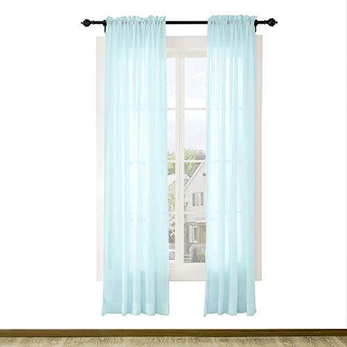 Macochico Privacy Protection Dustproof Home Decoration Rod Pocket Sheer Panels Window Treatment Sky Blue Outdoor Indoor Semi Voile Curtains for Patio Gazebo Pergola Living Room 100Wx 96L (1 Panel)