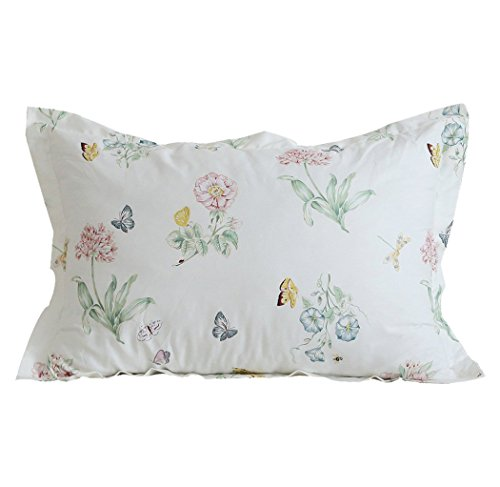 Butterfly Garden Decorative Pillow - FADFAY Cotton Decorative Pillowcase Butterfly Print Pattern Pillow Covers, 2 Pcs(White)